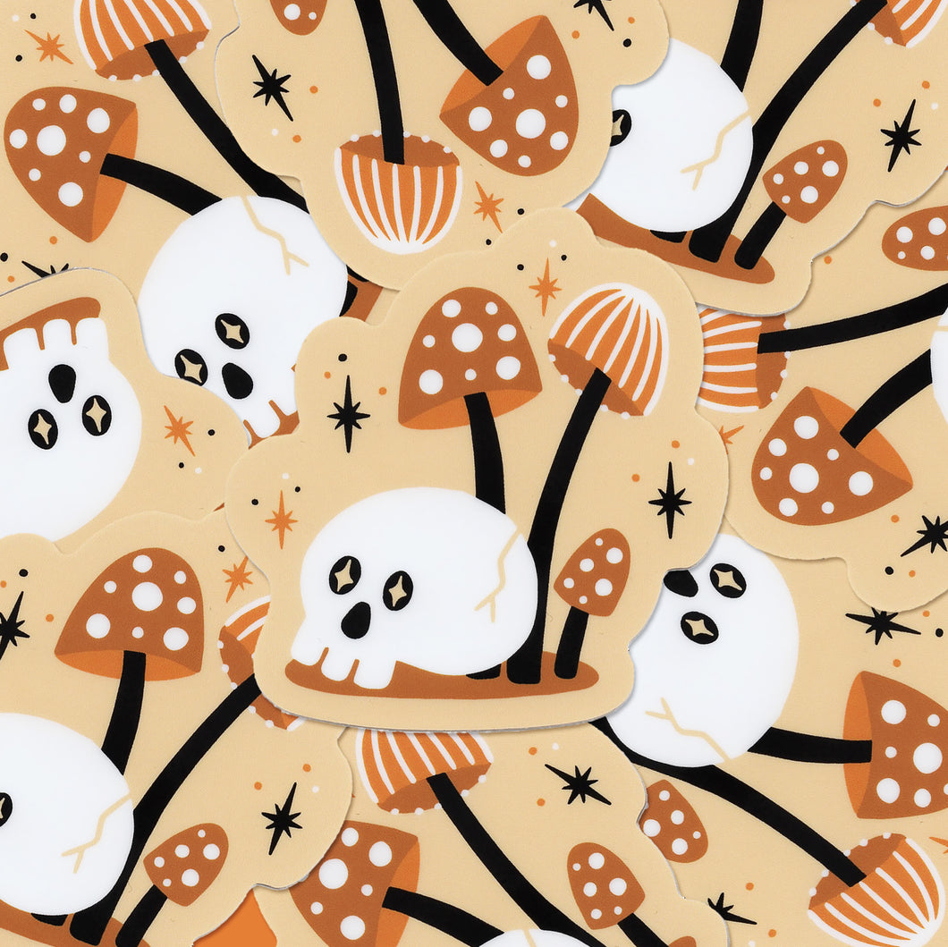 Mini Mushrooms & Skull Vinyl Sticker