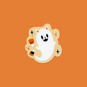 Candy Corn Ghost Cat Vinyl Sticker