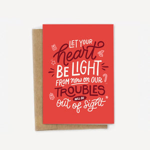 Let Your Heart Be Light Christmas Holiday Card