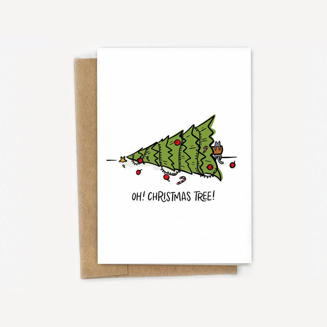 Oh! Christmas Tree! Funny Cat Holiday Card