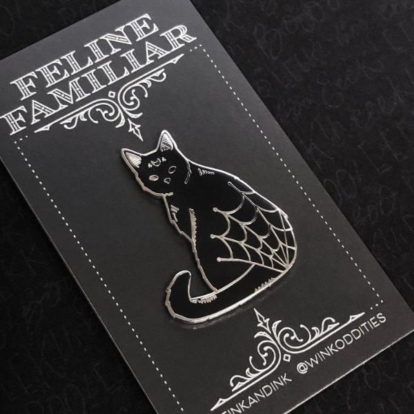 Spooky Black Cat Pin