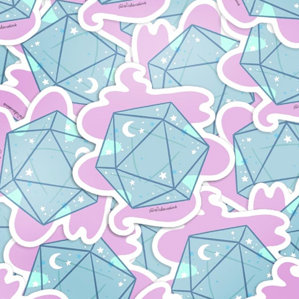 Starry Night d20 Die Vinyl Stickers