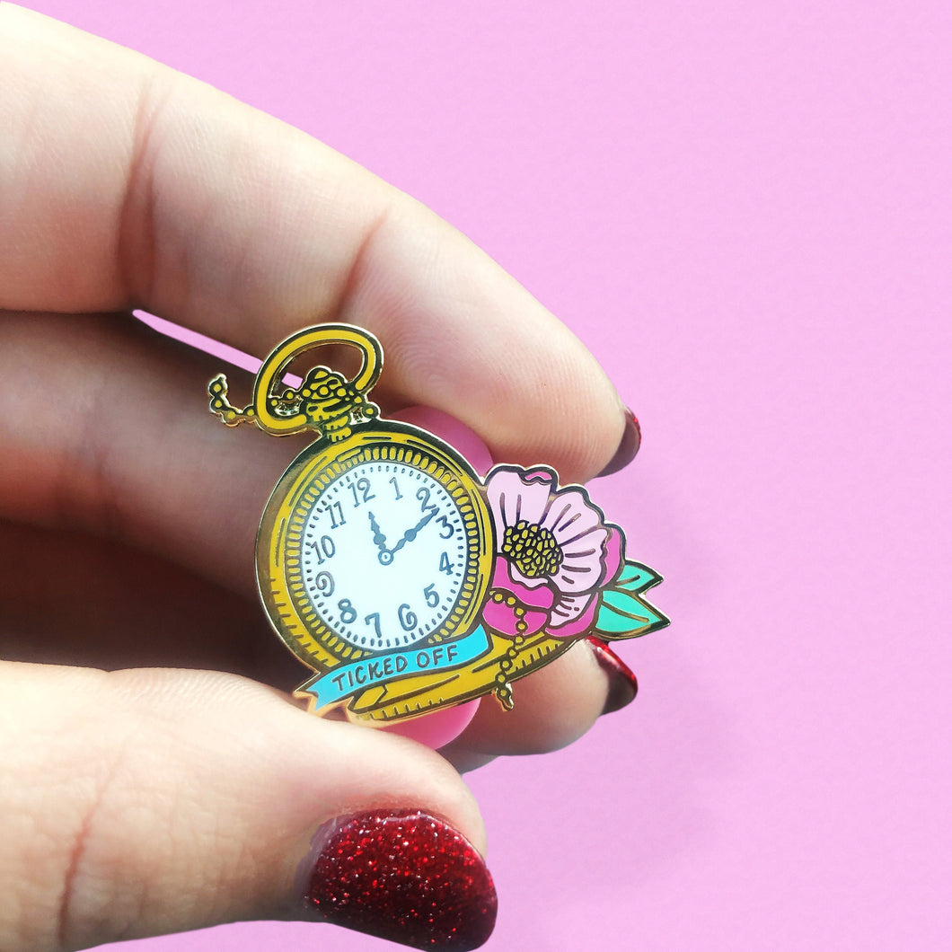 Ticked Off Pocket Watch Enamel Pin