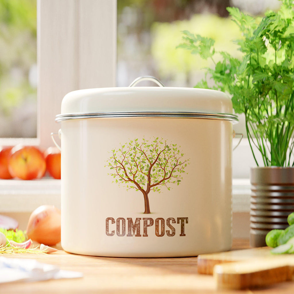 Modern Style Compost Bin for Kitchen Counter - Premium Quality | Cute Design Modern Style Compost Bin for Kitchen Counter - Premium Quality | Cute Design - Third Rock®Compost Bin Third Rock 1 Gallon 3.8 Liter