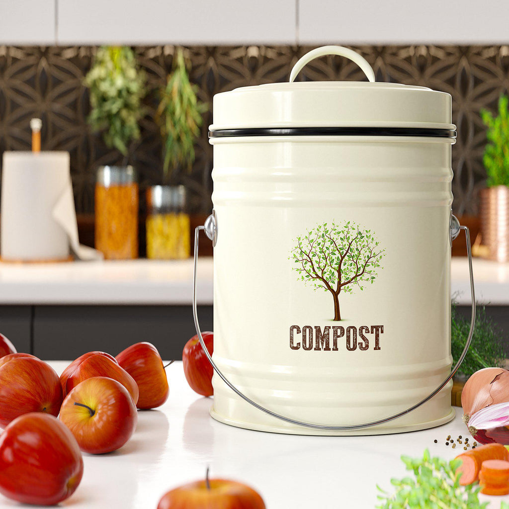 Farmhouse Style Compost Bin for Kitchen Counter - Premium Quality | Cute Design Farmhouse Style Compost Bin for Kitchen Counter - Premium Quality | Cute Design - Third Rock®Compost Bin Third Rock 1.3 Gallon 5 Liter