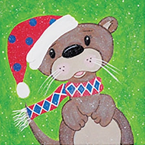 Holiday Canvas Panel- Snowy Otter