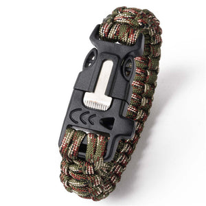 Multi-functional Camping Hiking Climbing Paracord Bracelet Outdoor Survival Gear  Whistle Lifesaving Braided Rope Tactical Wrist