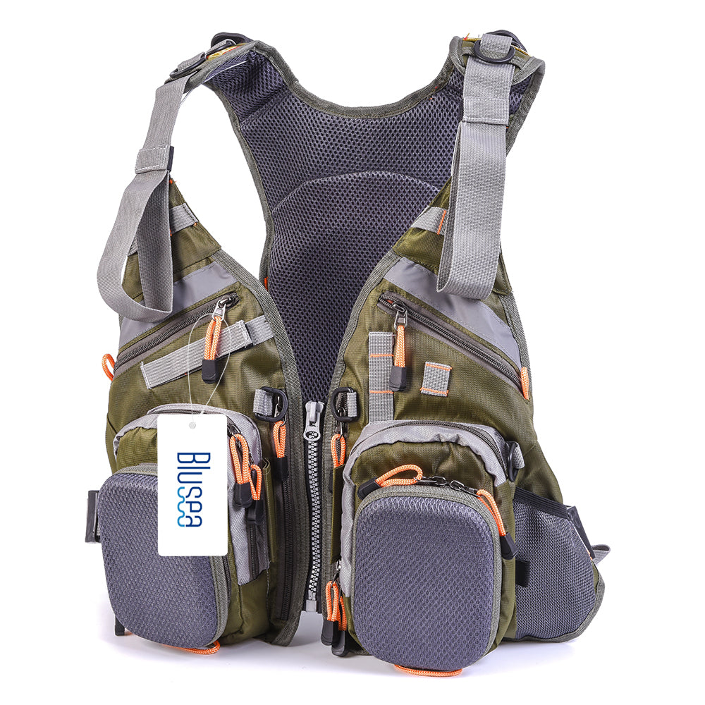 Blusea  Fishing Vest General Size Multi Function Adjustable Mesh Vest With Mutil-Pocket Outdoor Fly Fishing Vest Jacket