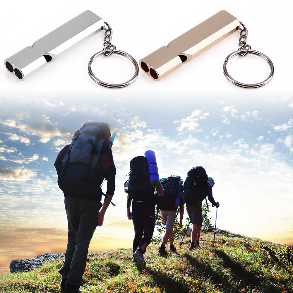 1Pcs Whistle Keychain Outdoor Survival Whistle Double Pipe High Decibel Outdoor Emergency Whistle Keychains Gold Silver