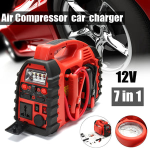 7 In 1/ 6 In 1 12V Multifunation Air Compressor Air Compressor Car Charger Battery Jump Starter Portable Boost