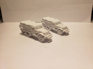 1/72 1/87 1/144 1/100 1/56 1/48 1/200 1/35 M3 Half Track coverd x2 Scale WWII Model Tank