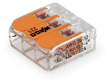 Wago 3 Way Splicing Connector Compact 221-413 (Pack of 10) - Prisma Lighting