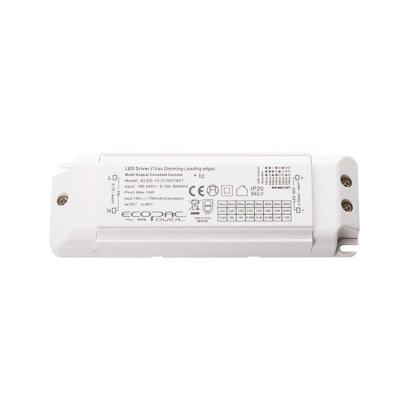 Ecopac Constant Current LED Driver ELED-15-C150/700T Series (TRIAC, Dimmable) - Prisma Lighting