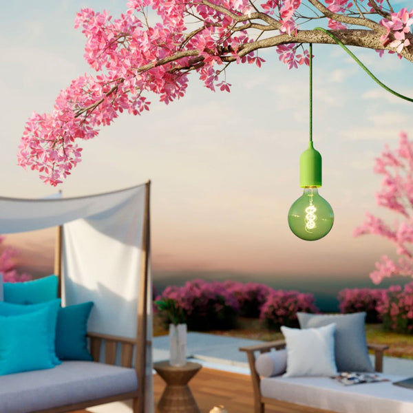 EIVA PASTEL Outdoor Pendant C/W 5M Textile Cable, Decentraliser, Ceiling Rose & Lamp Holder IP65 Water Resistant