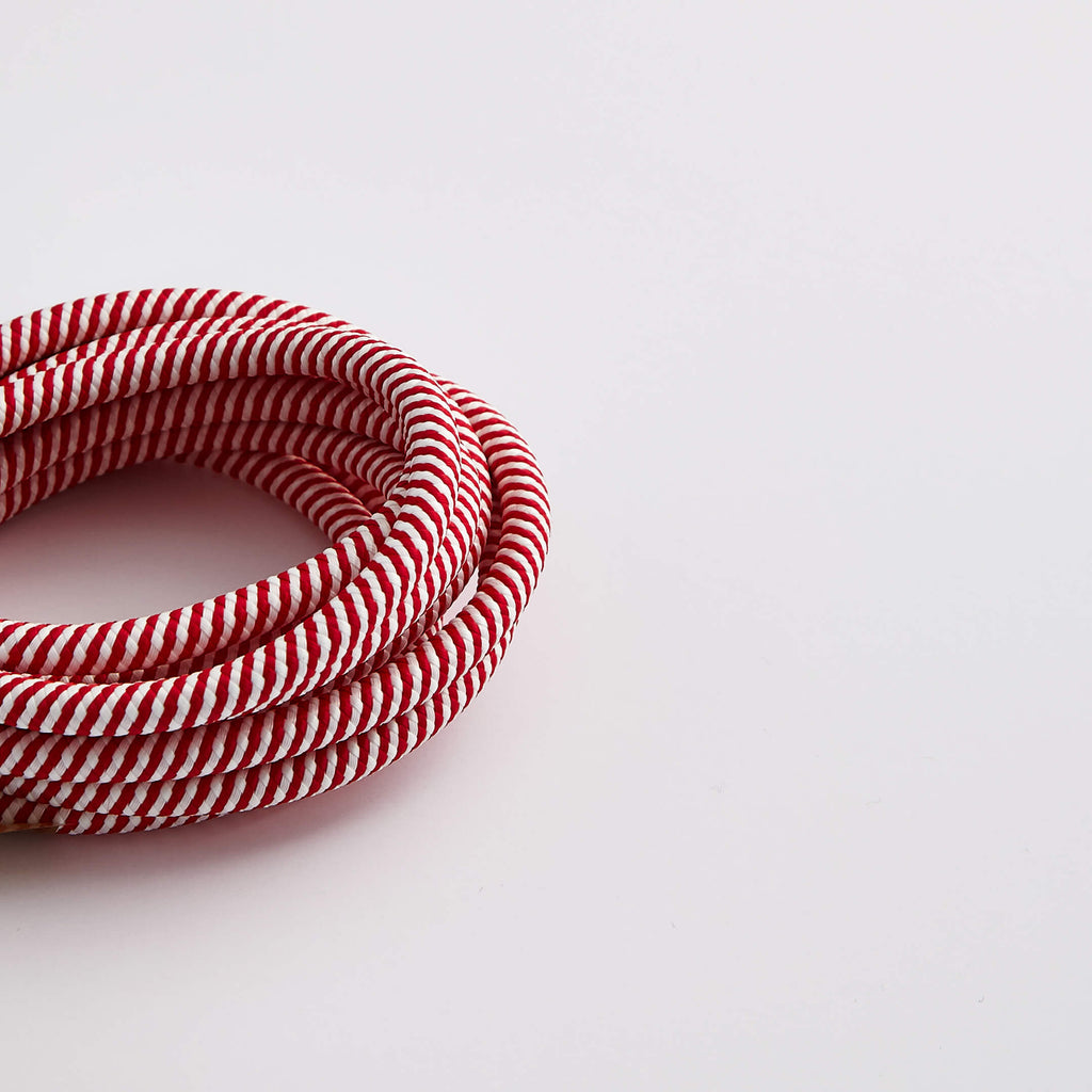 Prisma Red & White Spiral 3 Core 0.5mm Solid Braid Cable - Prisma Lighting