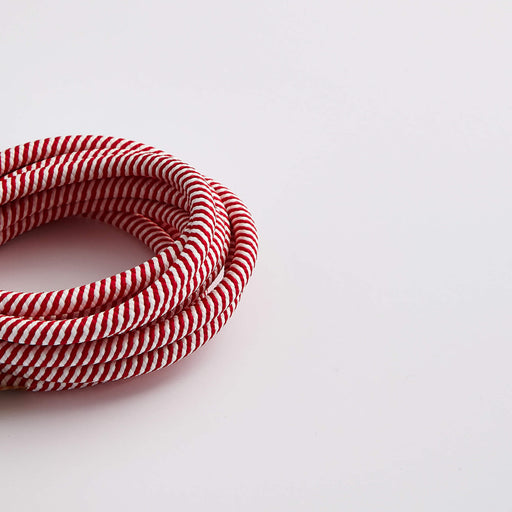 Prisma Red & White Spiral 3 Core 0.5mm Solid Braid Cable (Sold by the Metre)