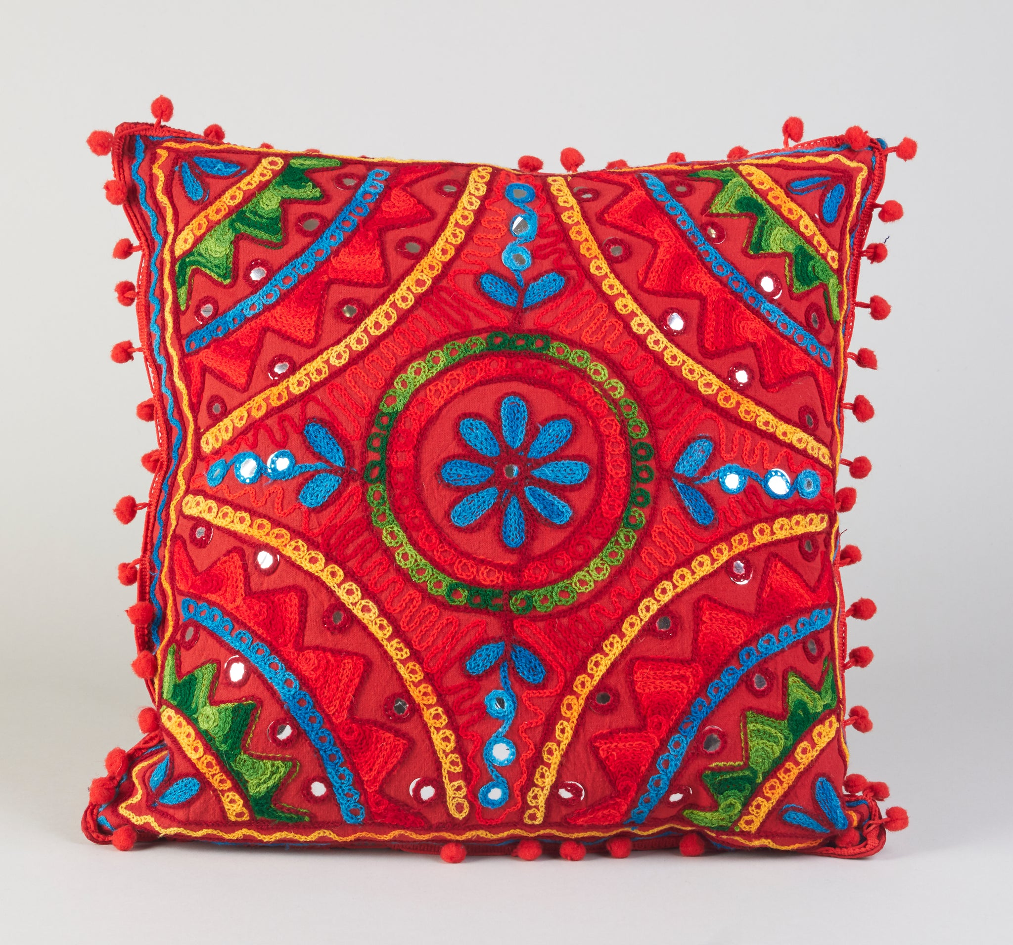 Hand Embroidered Red Floral Cushion