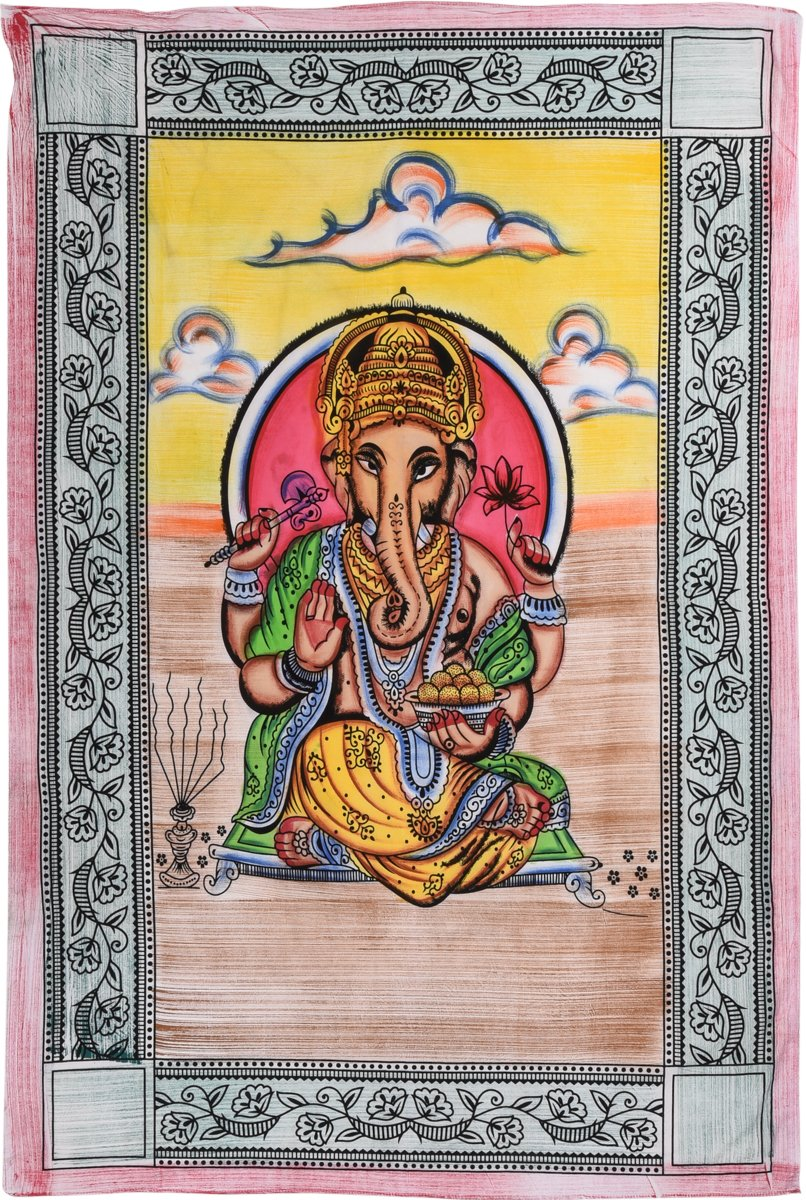 Ganesha Hand Painted Throw (single)
