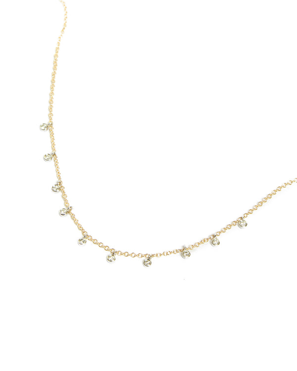 14k Gold Necklace with 10 Diamond Bezels - 14ct Yellow Gold