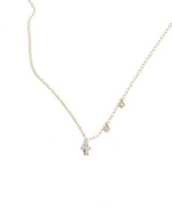 Dainty Diamond Cross Necklace - 14ct Yellow Gold