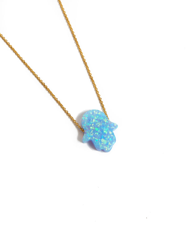 Large Opal Hamsa Hand Necklace Light Blue - 14ct Gold