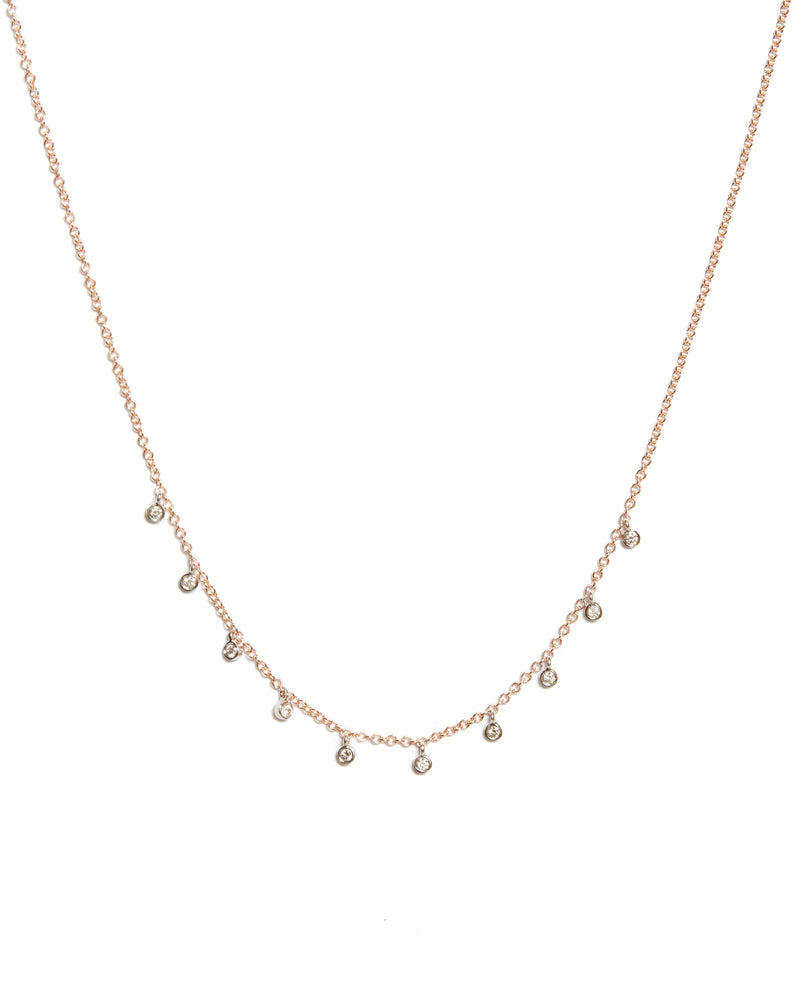14k Gold Necklace with 10 Diamond Bezels - 14ct Rose Gold