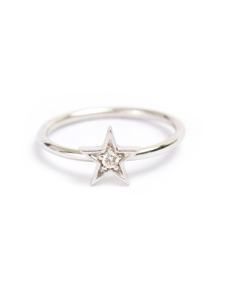 Star Diamond Ring - 9ct White Gold