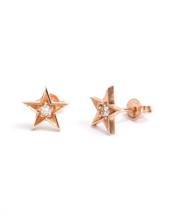 Star Diamond Stud - 9ct Rose Gold