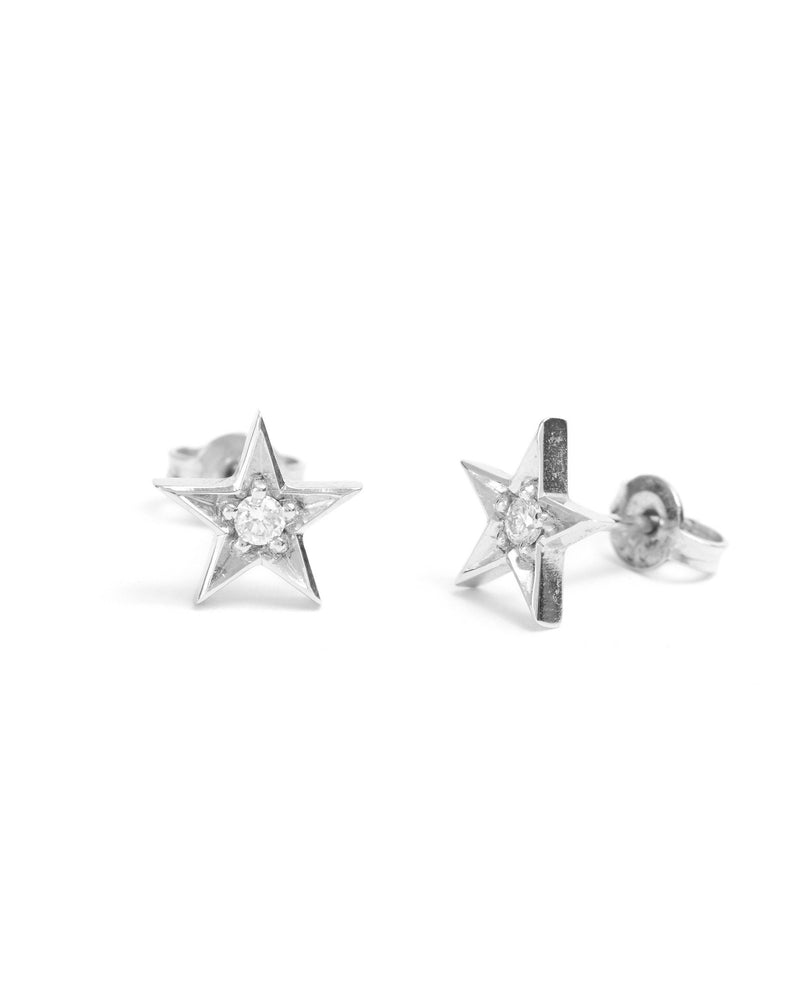 Star Diamond Stud - 9ct White Gold