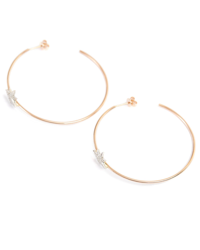 Aurora Diamond Hoops - 9ct Rose & White Gold