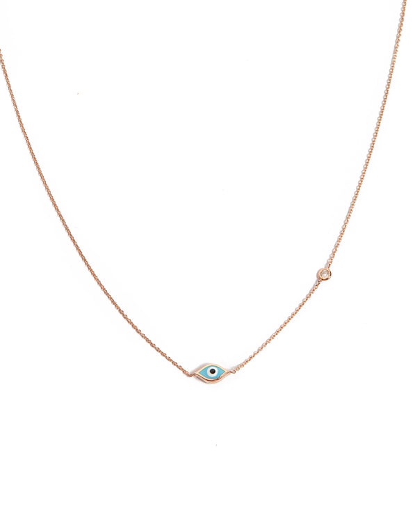 Marquise Evil Eye & Diamond Necklace - 14ct Rose Gold