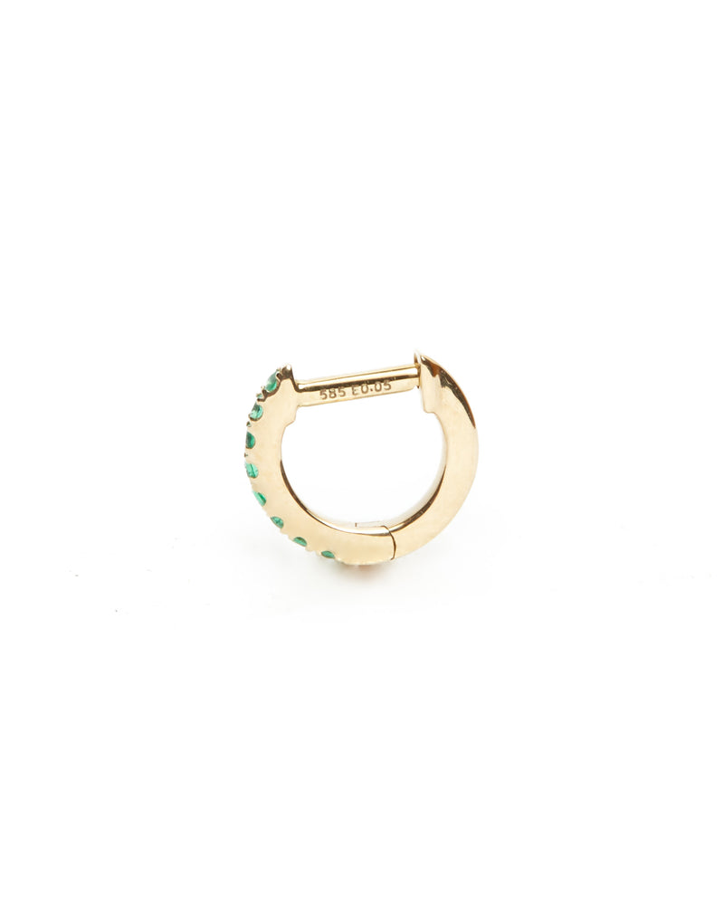 Emerald Huggie Extra Small - 14ct Gold