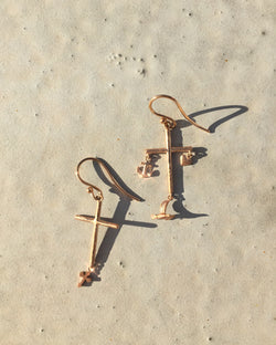 Elise Cross Earrings - 9ct Rose Gold