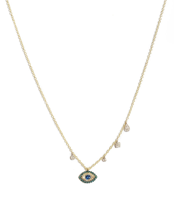 Evil Eye Necklace with Sapphires & Diamonds - 14ct Yellow Gold