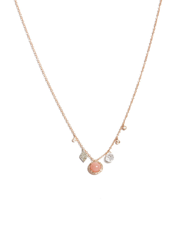 Pink Opal Charm Necklace - 14ct Yellow Gold