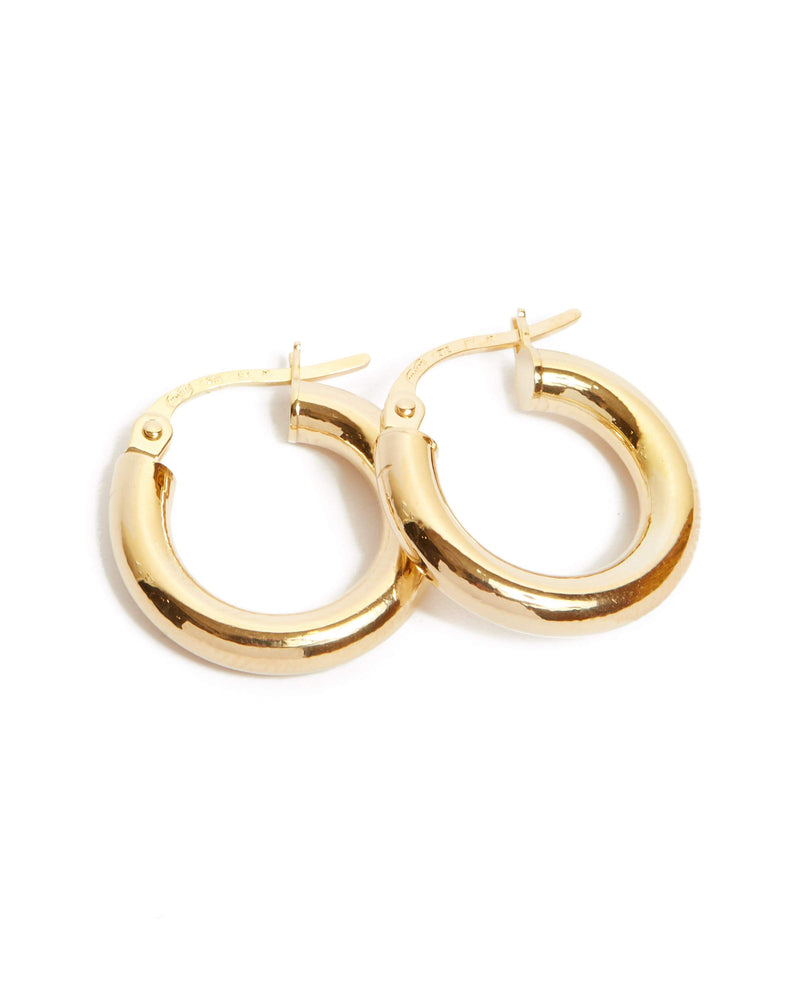 Chunky Tube Hoops Extra Small - 9ct Gold