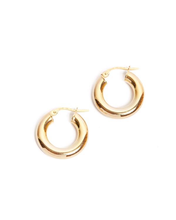 Super Chunky Tube Hoops Extra Small - 9ct Gold