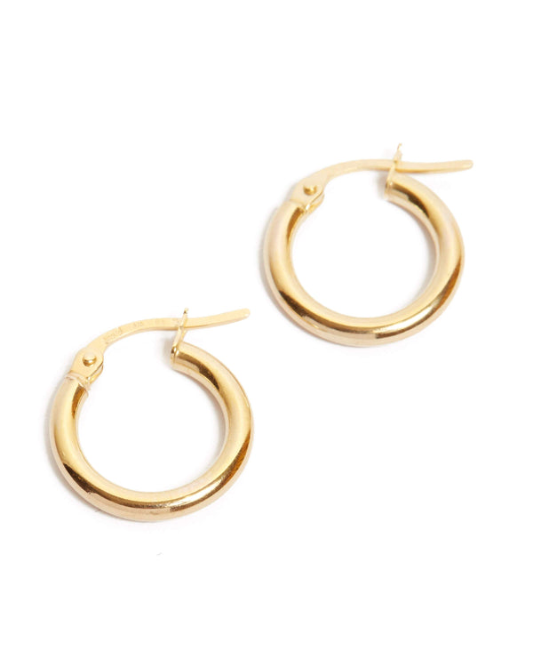 Narrow Tube Hoops Extra Small - 9ct Gold