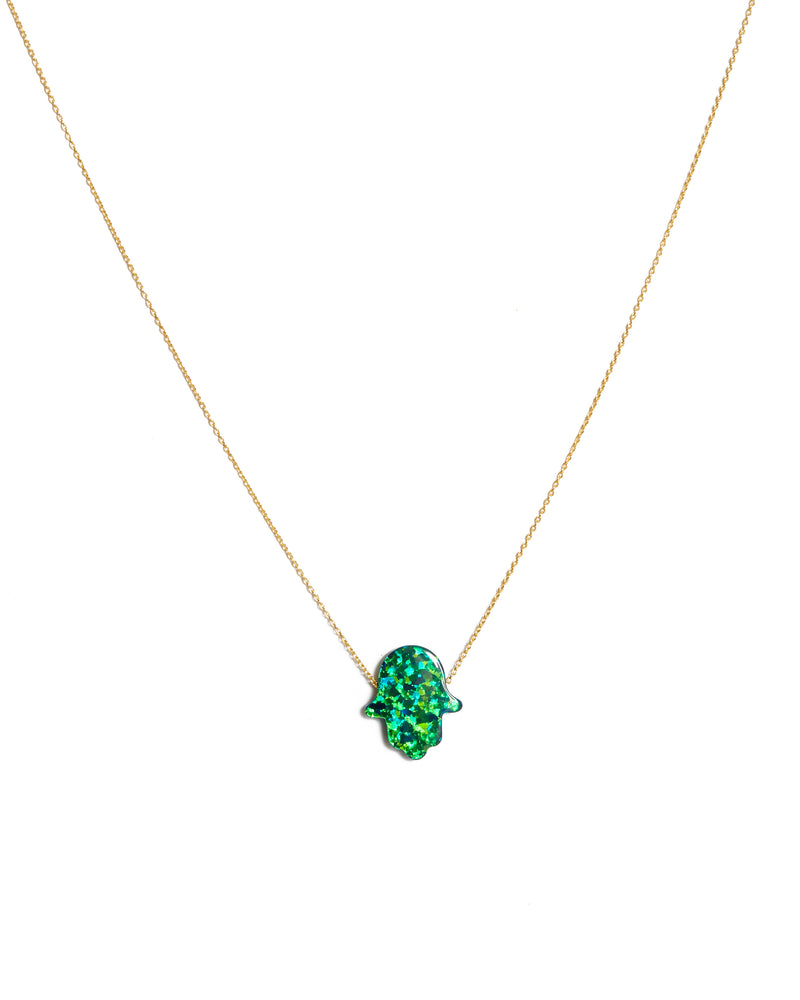 Large Opal Hamsa Hand Necklace Green - 14ct Gold