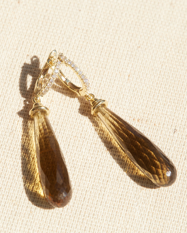 Whisky Quartz Briolette & Diamond Earrings