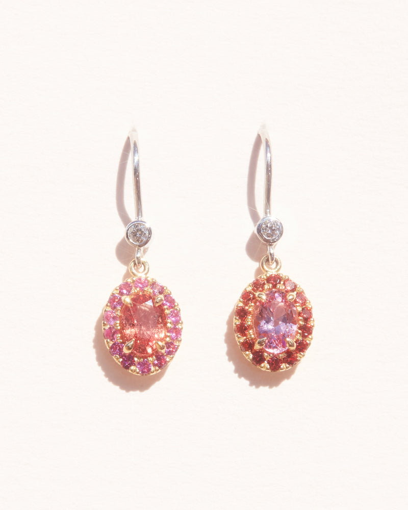 Pink Spinel & Orange Sapphire Earrings