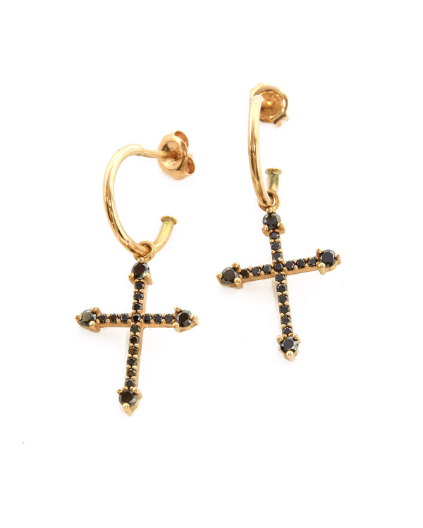 Grecian Black Diamond Cross Earrings - 9ct Gold