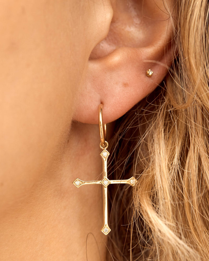 Iconic Diamond Cross Earrings - 9ct Gold