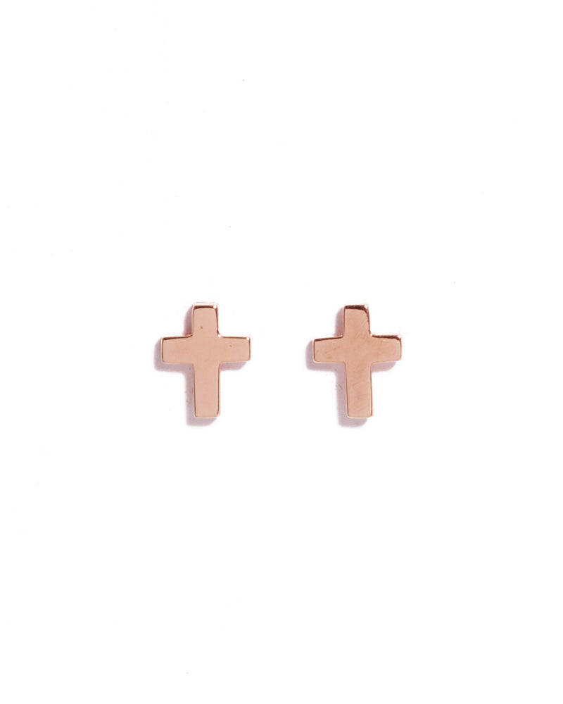 Cross Studs - 9ct Rose Gold