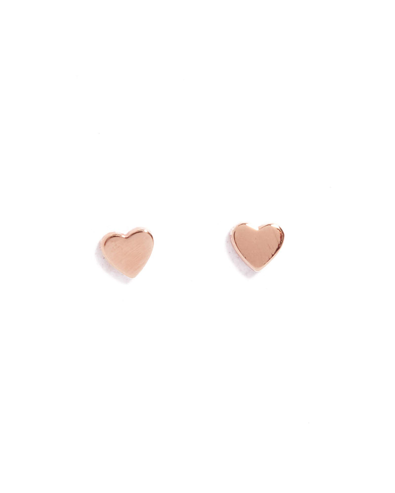 Tiny Heart Studs - 9ct Rose Gold