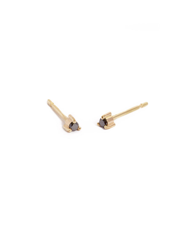 Neo 3pt Black Diamond Stud - 9ct Gold