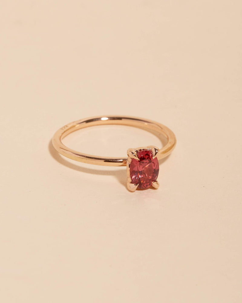 Carmen Oval Raspberry Spinel Solitaire - 14ct Rose Gold