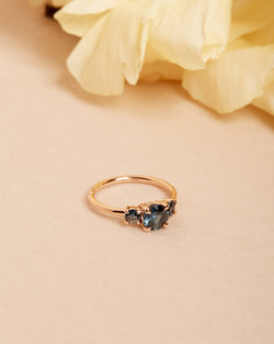 Delphine Blue Sapphire Three Stone Ring - 14ct Rose Gold