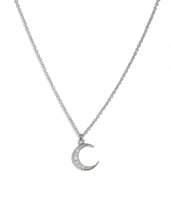 New Moon Diamond Necklace - 9ct White Gold