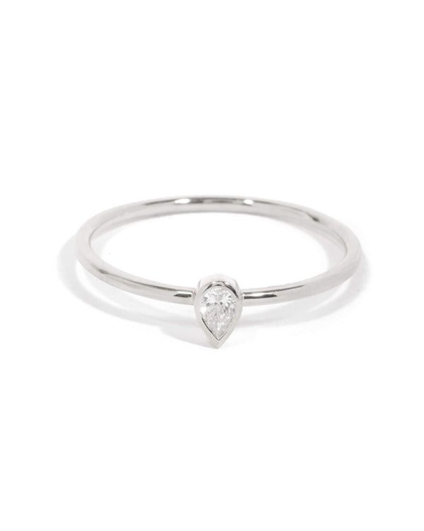 Neo Pear Shape Diamond Ring - 9ct White Gold